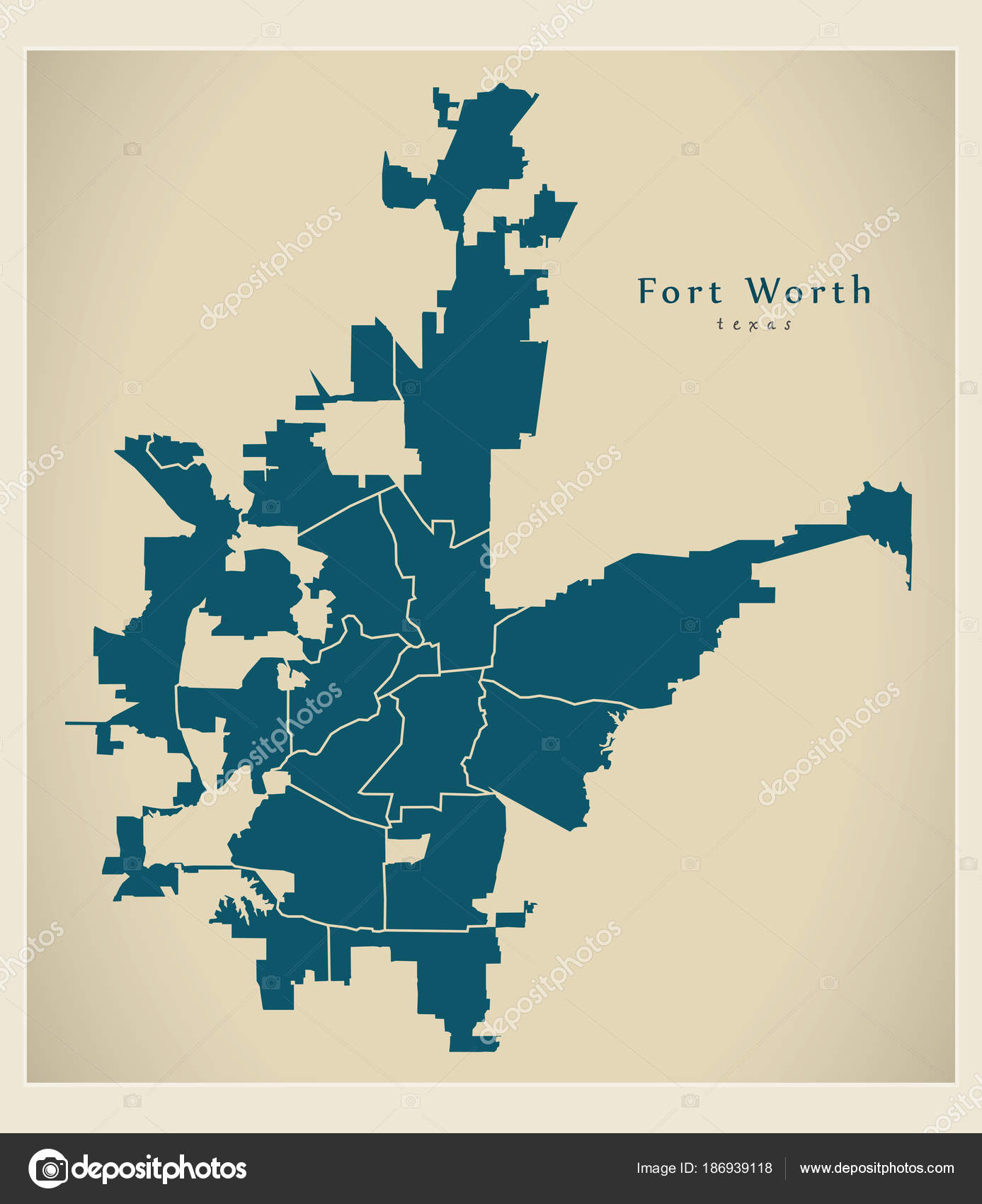 Moderne City Map - Fort Worth Texas Stadt der Usa Nachbarschaften ...