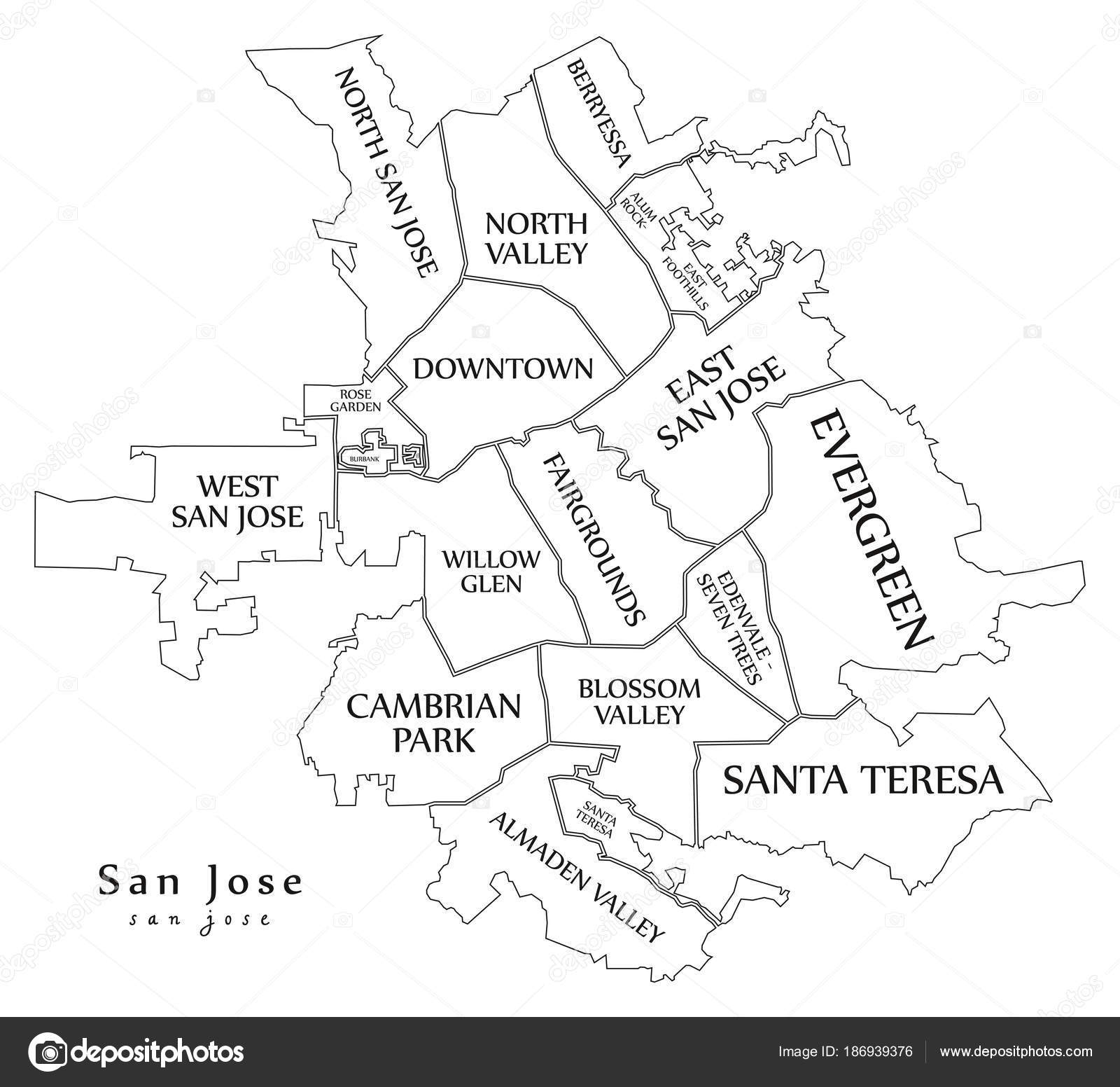 Modern City Map - San Jose city of the USA with neighborhoods an ...