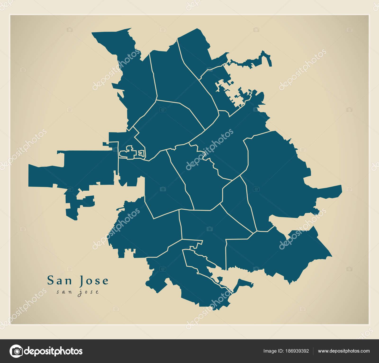 Moderne City Map - San José Stadt der Usa mit Nachbarschaften ...