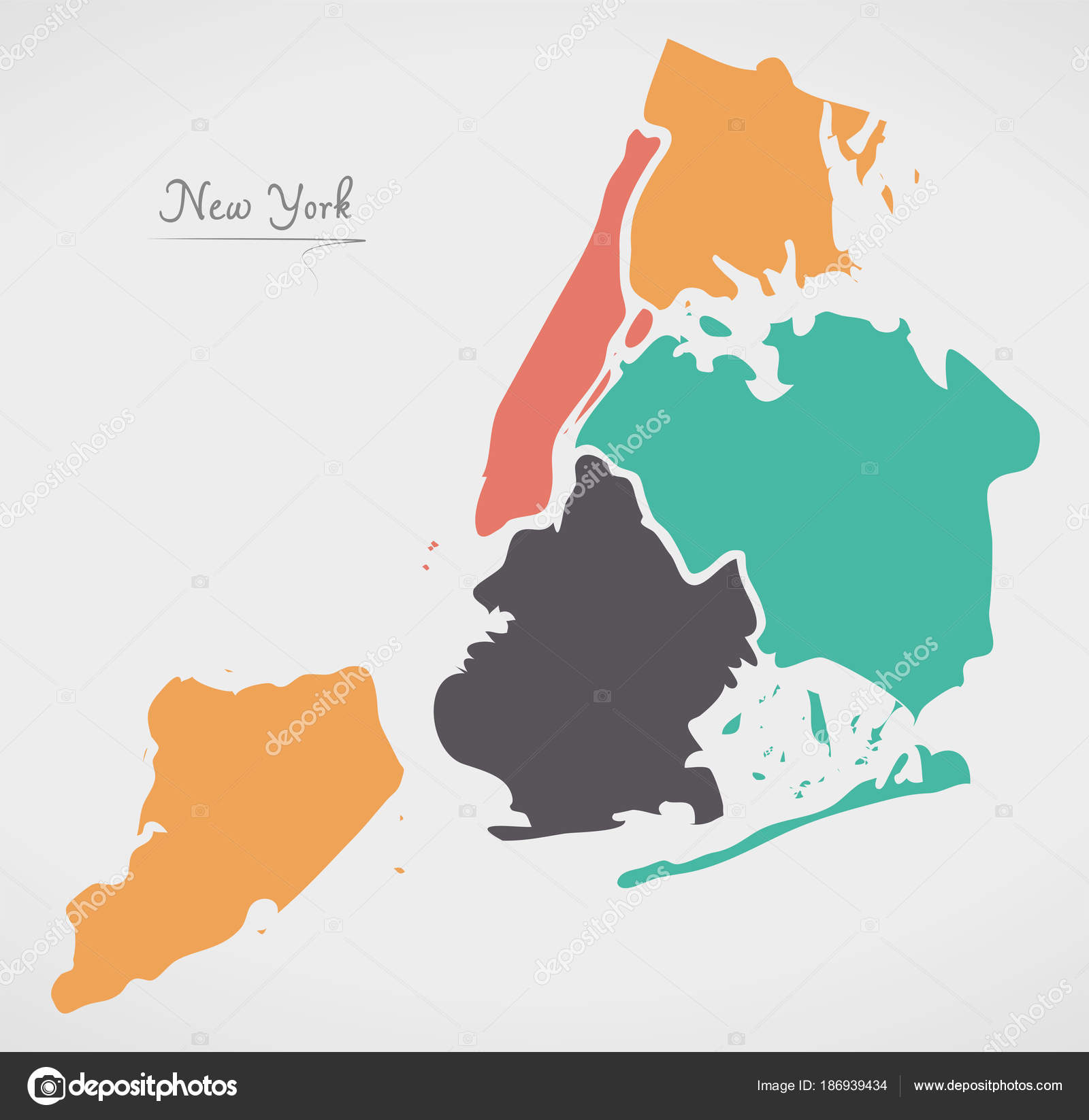 New York Map Boroughs.New York Map With Boroughs And Modern Round Shapes Stock Vector