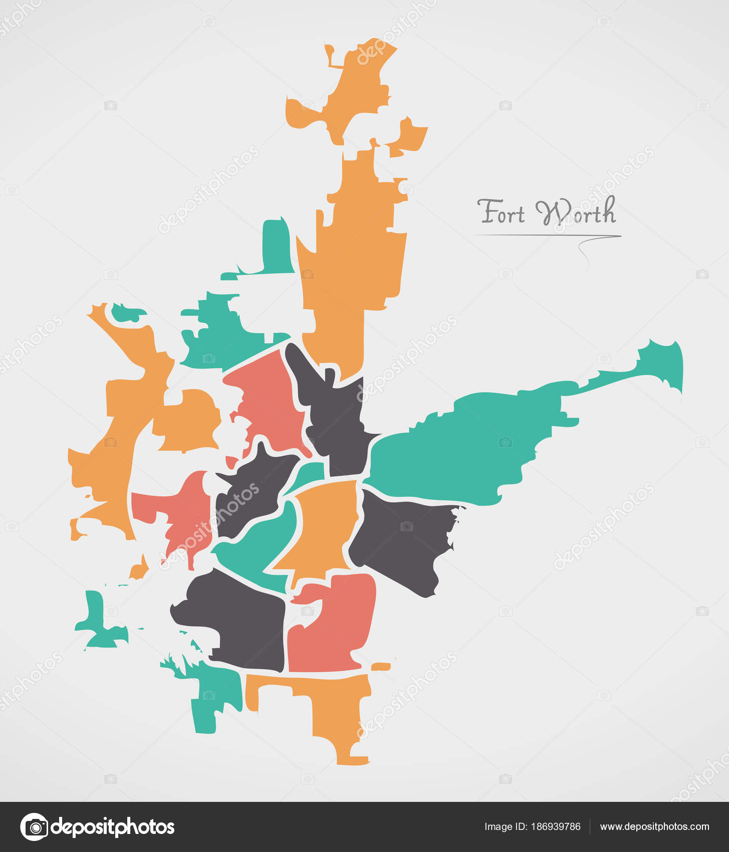 Fort Worth Texas Map with neighborhoods and modern round shapes ...