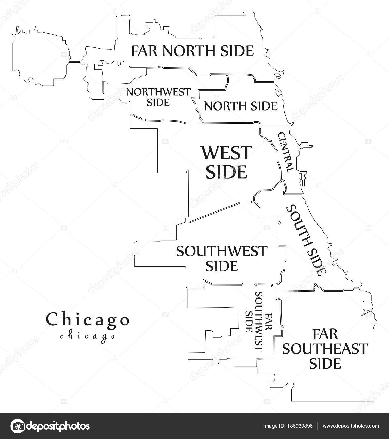 Modern City Map Chicago city of the USA with boroughs and titl
