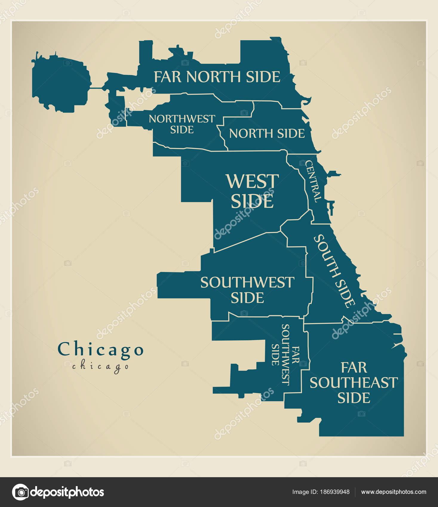 Moderne City Map - Chicago Stadt der Usa mit Bezirken und el ... on