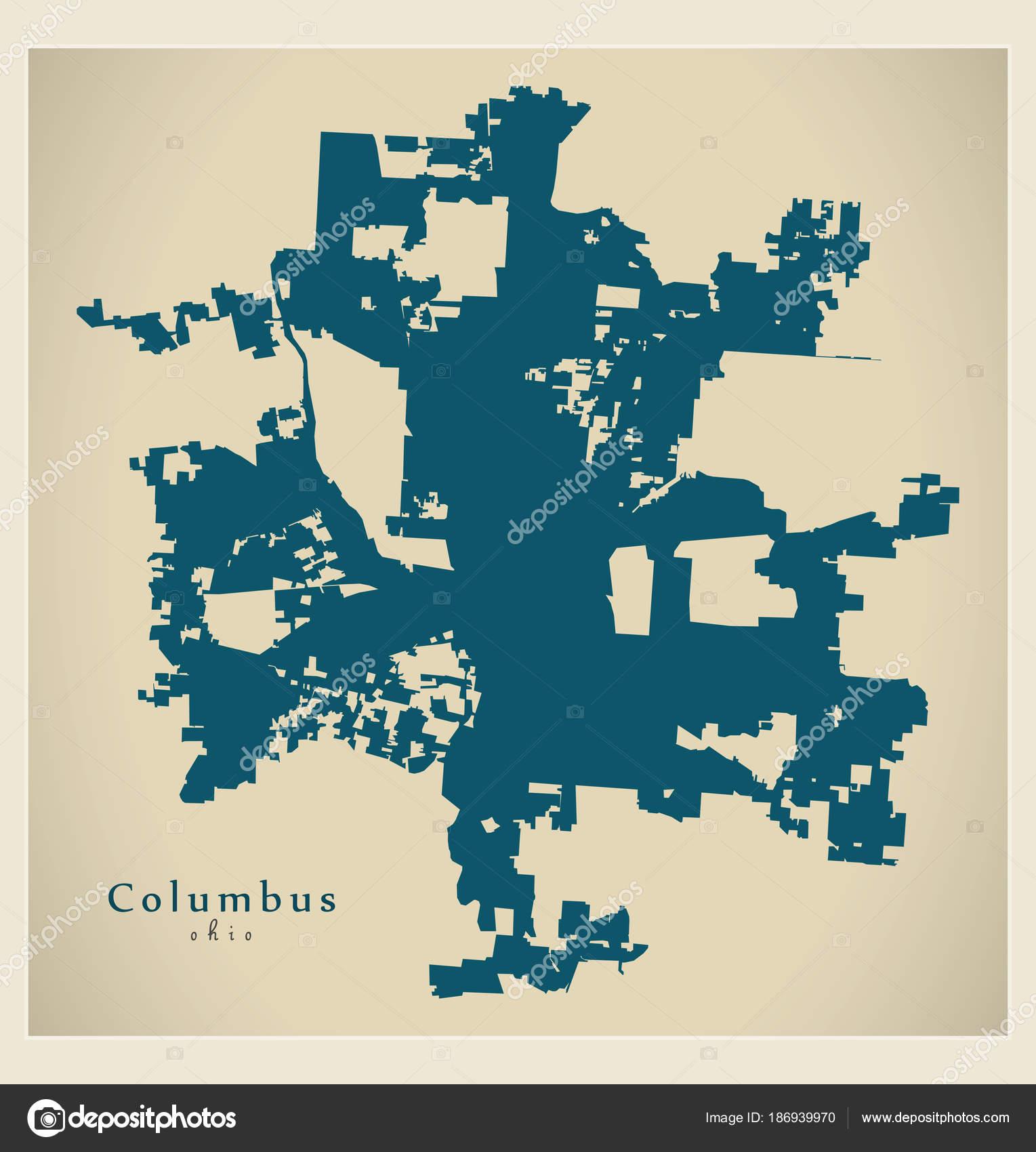 Modern Map - Columbus Ohio city of the USA — Stock Vector ...