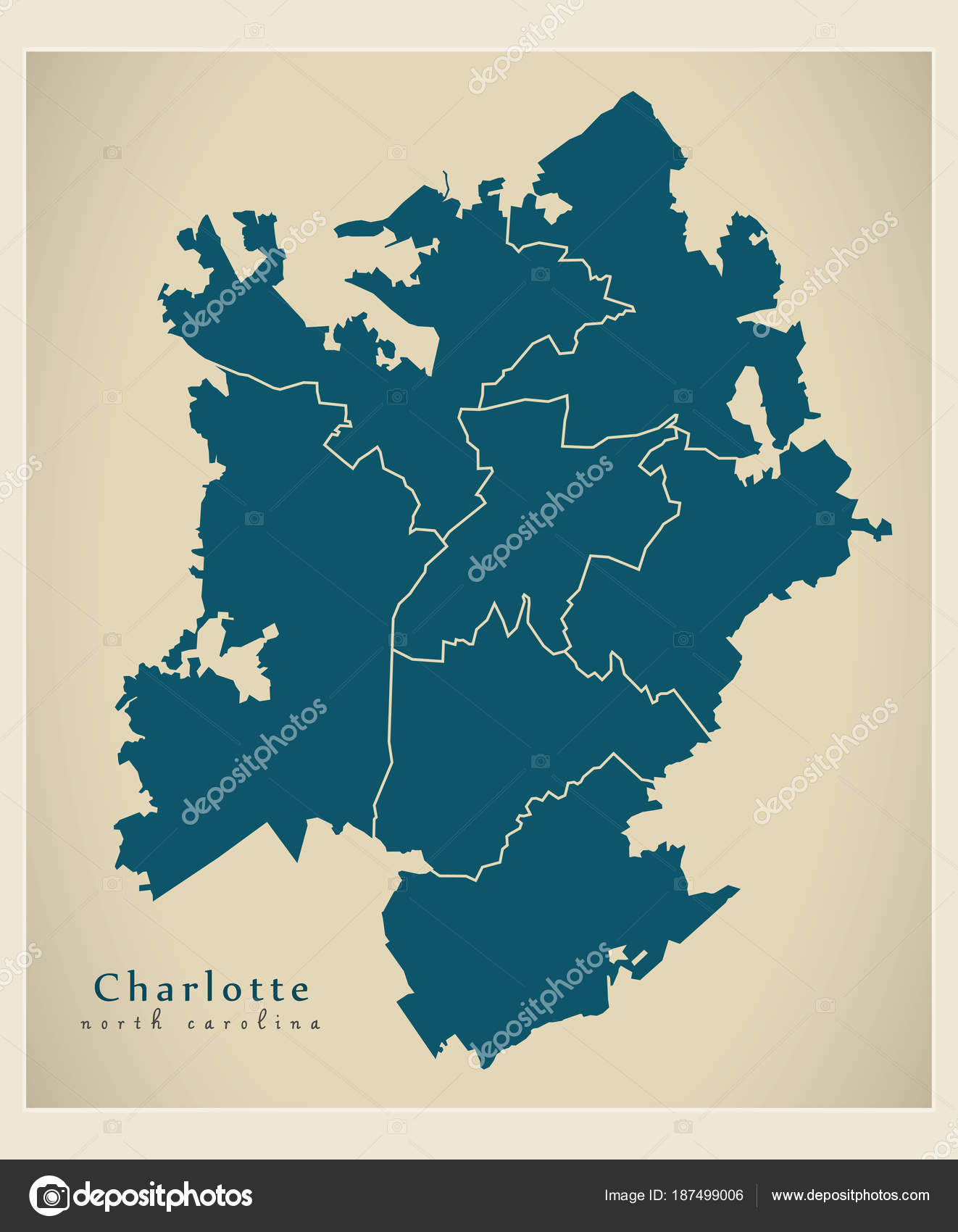 Moderne City Map - Charlotte North Carolina Stadt der Usa mit ...