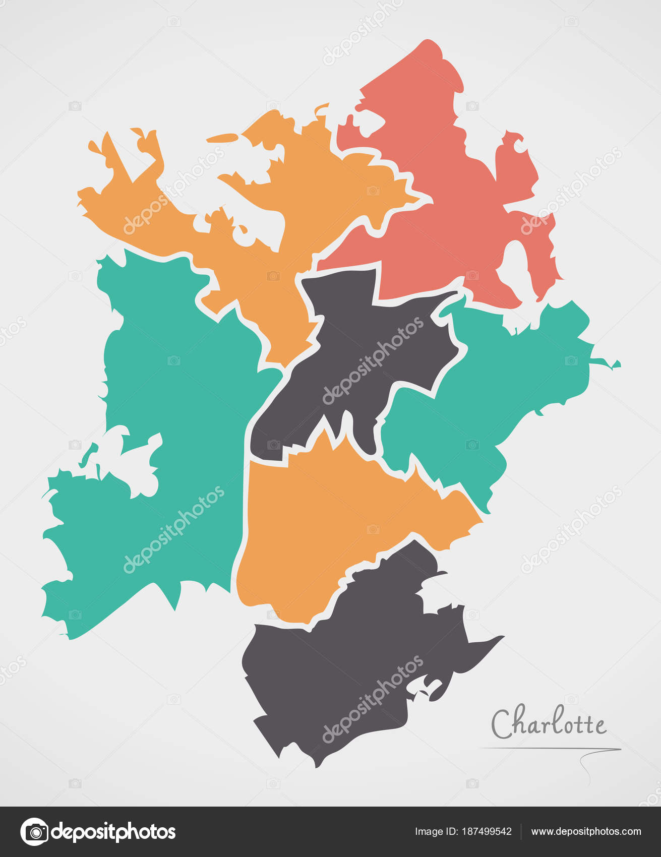 Charlotte North Carolina Map with neighborhoods and modern round ...