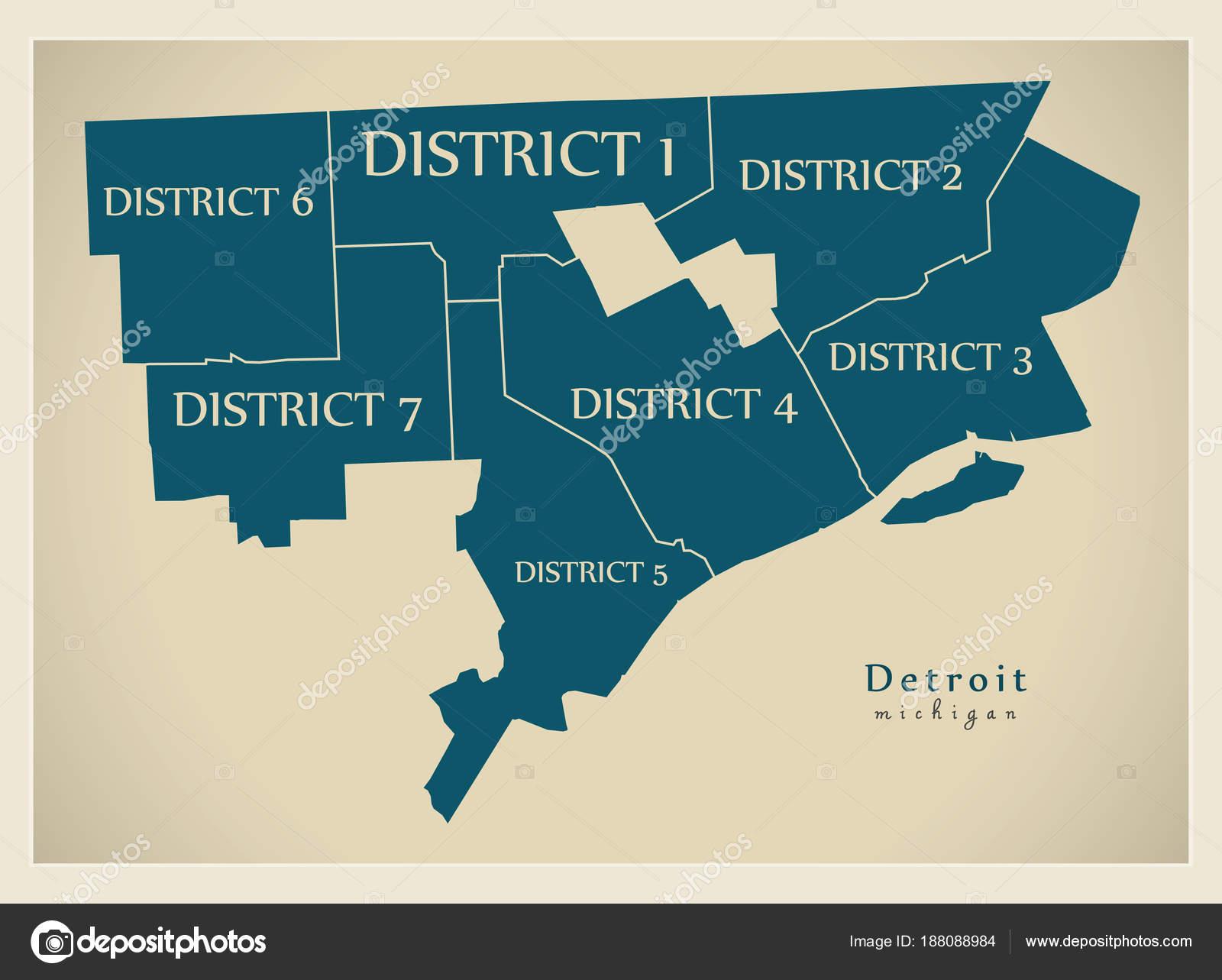 Moderne City Map - Detroit Michigan Stadt der Usa mit Bezirken und ...