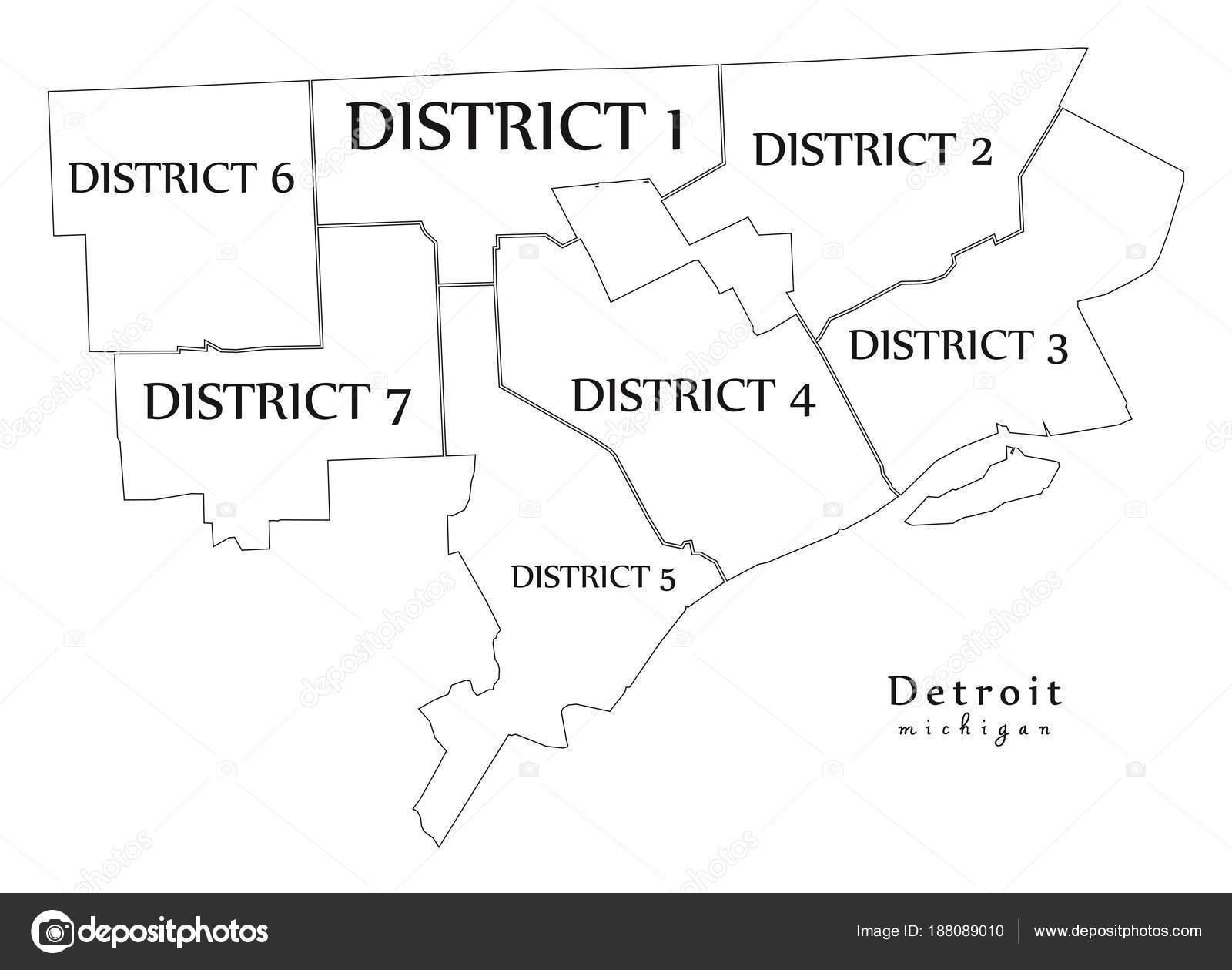 Moderne City Map - Detroit Michigan Stadt der Usa mit Bezirken und on
