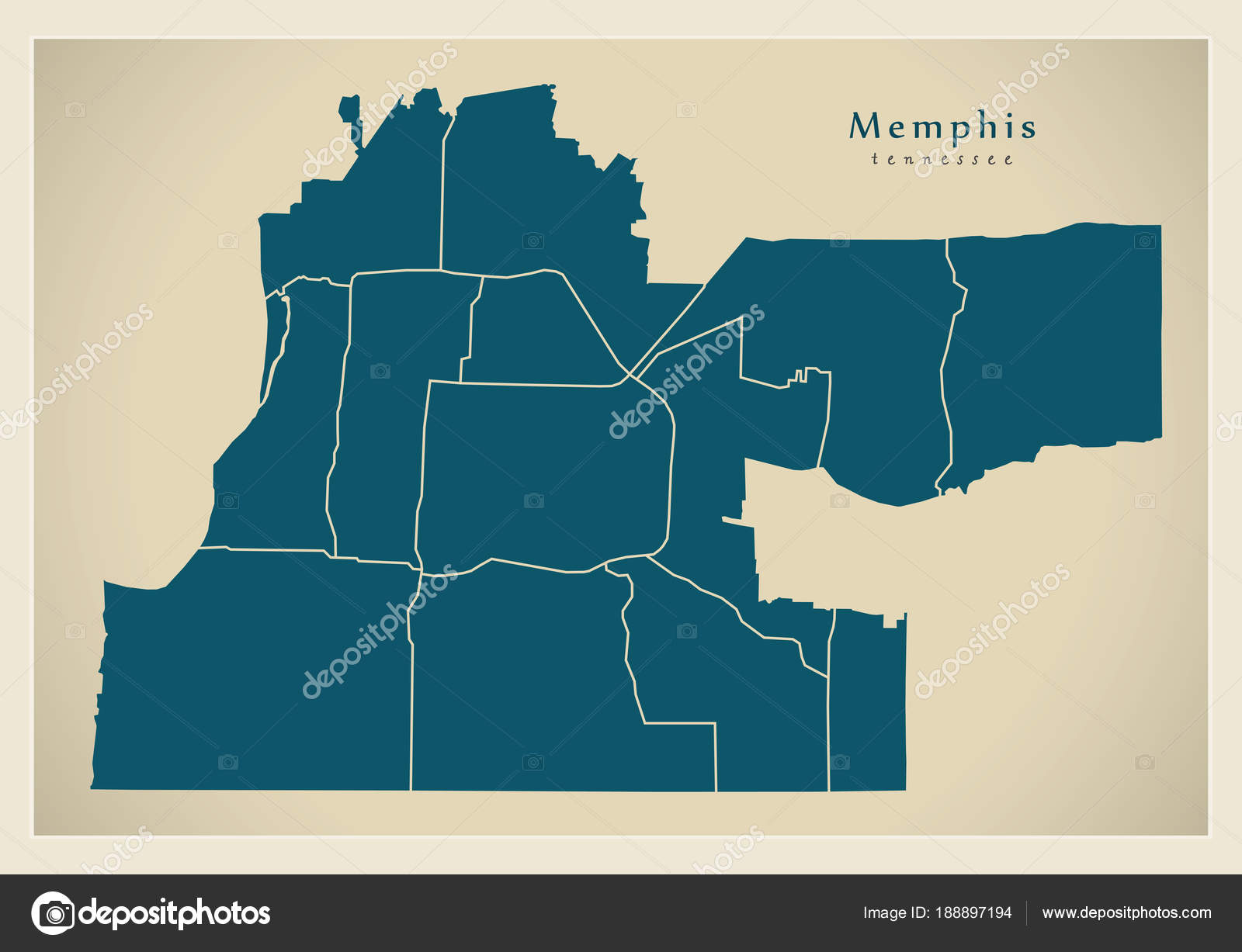 Modern City Map - Memphis Tennessee city of the USA with ...