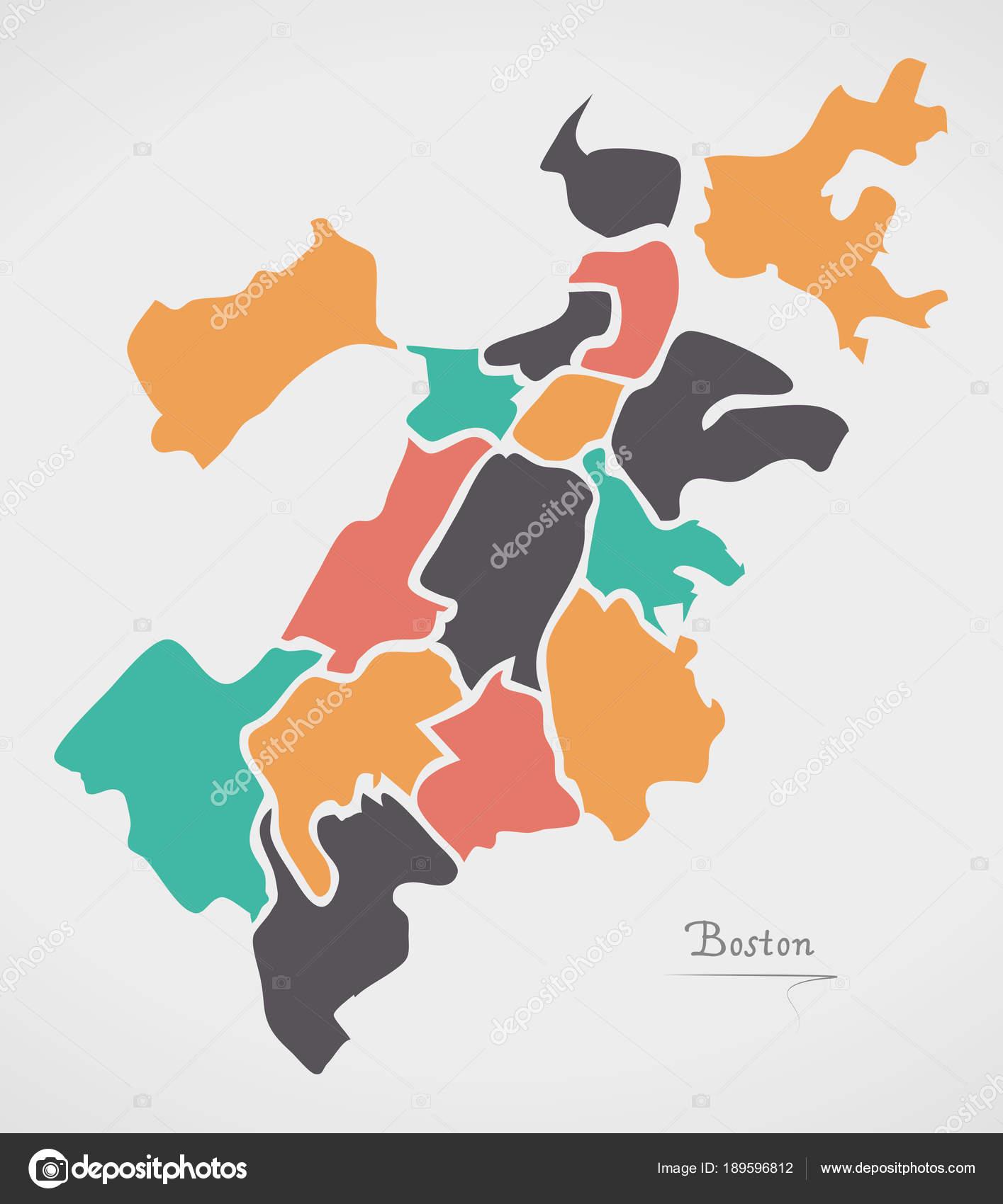 Boston massachusetts map with neighborhoods and modern round shapes boston massachusetts map with neighborhoods and modern round shapes stock vector gumiabroncs Choice Image