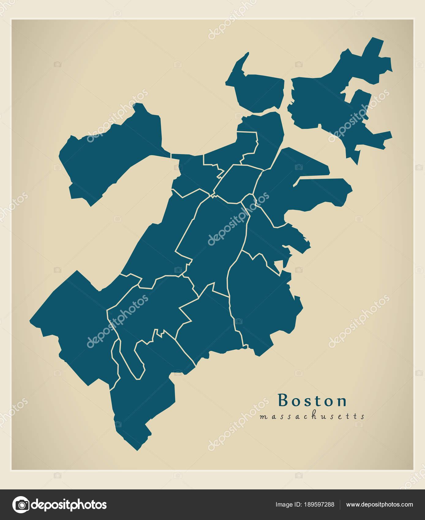 Moderne City Map - Boston, Massachusetts Stadt der Usa mit Bezirken ...