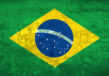 Brazil national flag background in grunge vintage style