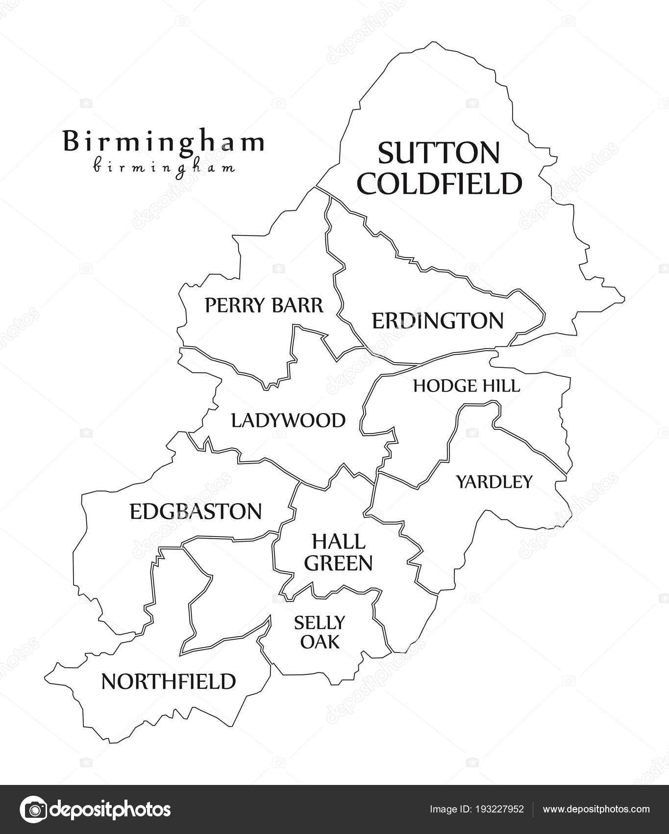 Modern City Map Birmingham City Of England With Boroughs And