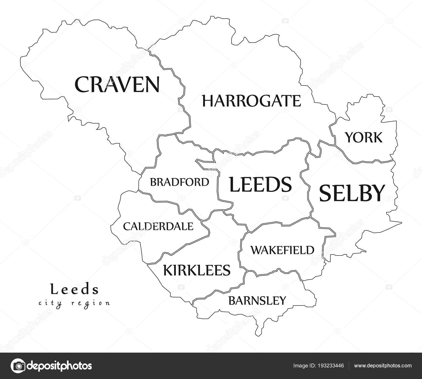 Modern City Map Leeds city of England with boroughs and titles UK