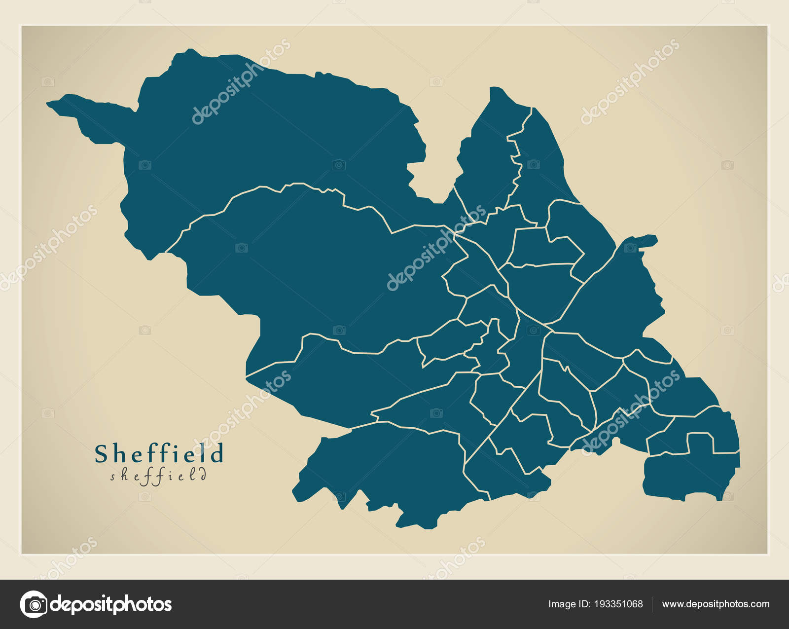 City Map Of England.Modern City Map Sheffield City Of England With Wards Uk Stock