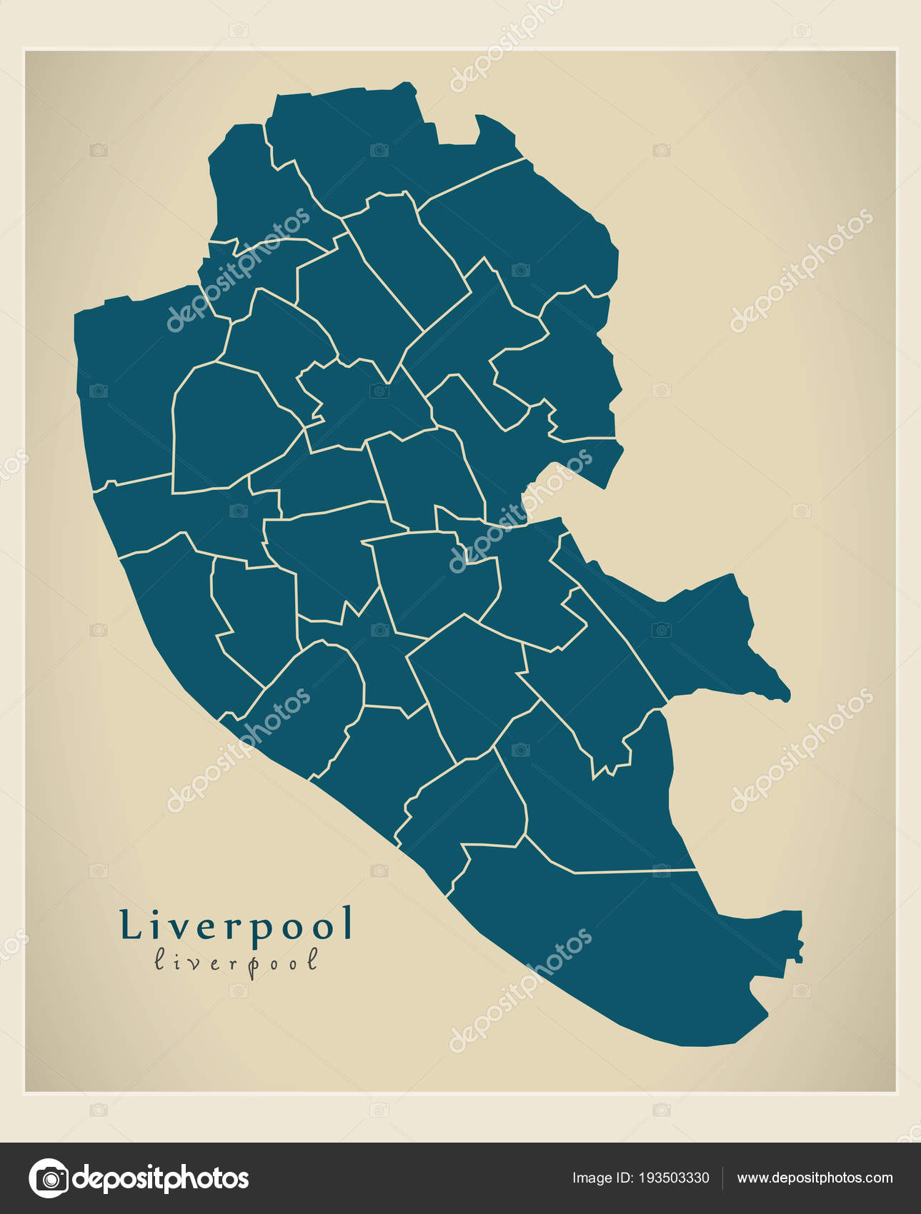 Map Of England Liverpool.Modern City Map Liverpool City Of England With Wards Uk Stock