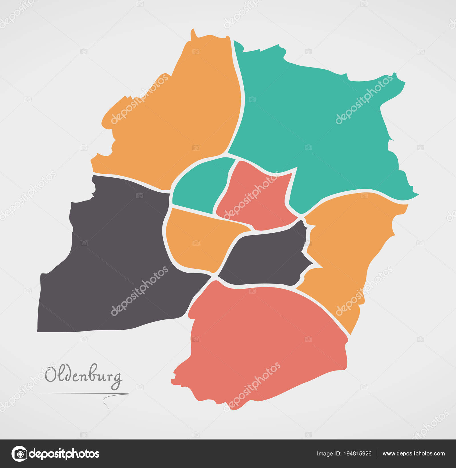 Oldenburg Map With Boroughs And Modern Round Shapes Stock Vector