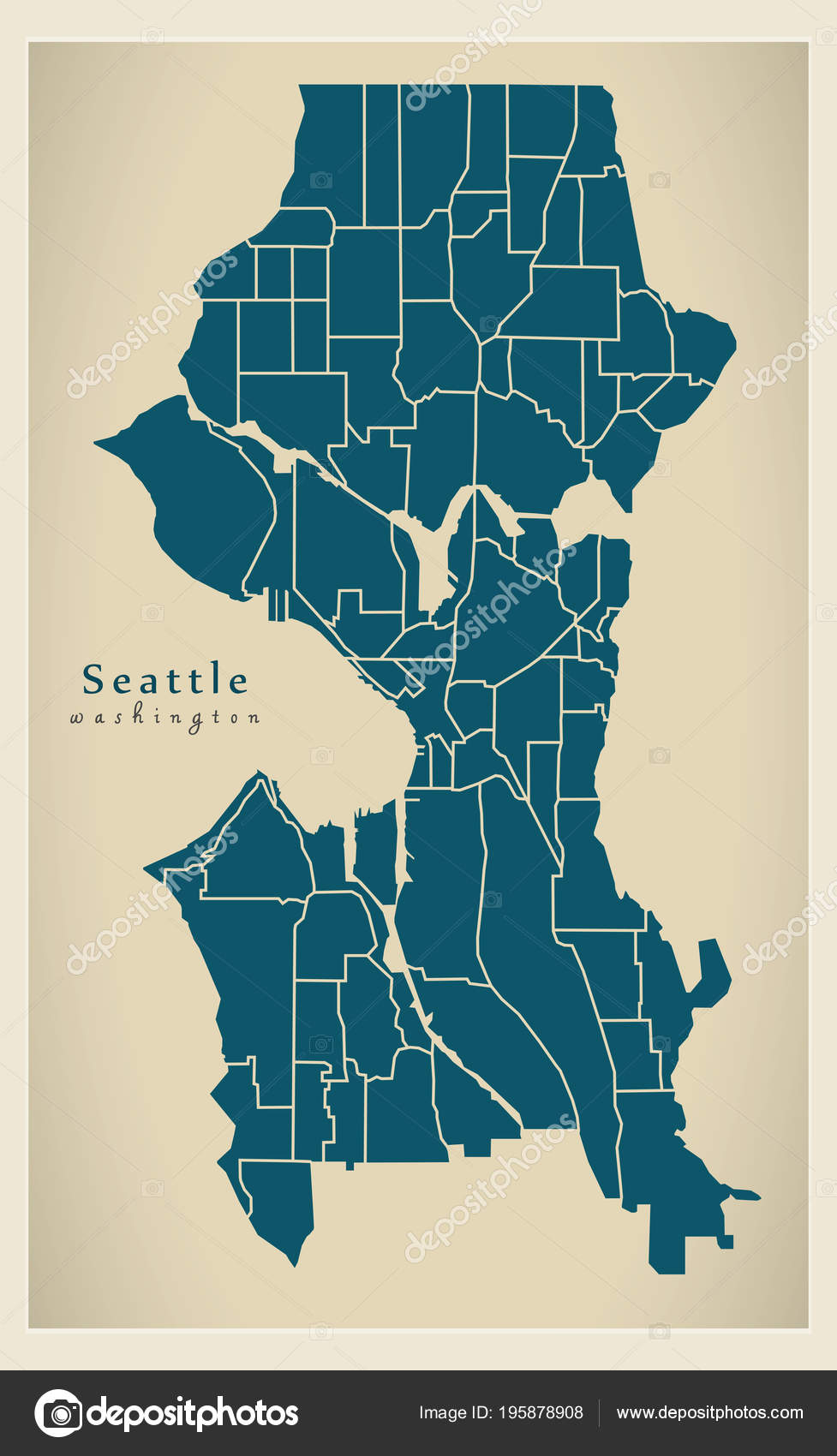 Moderne City Map Seattle Washington Stadt Der Usa Mit ...
