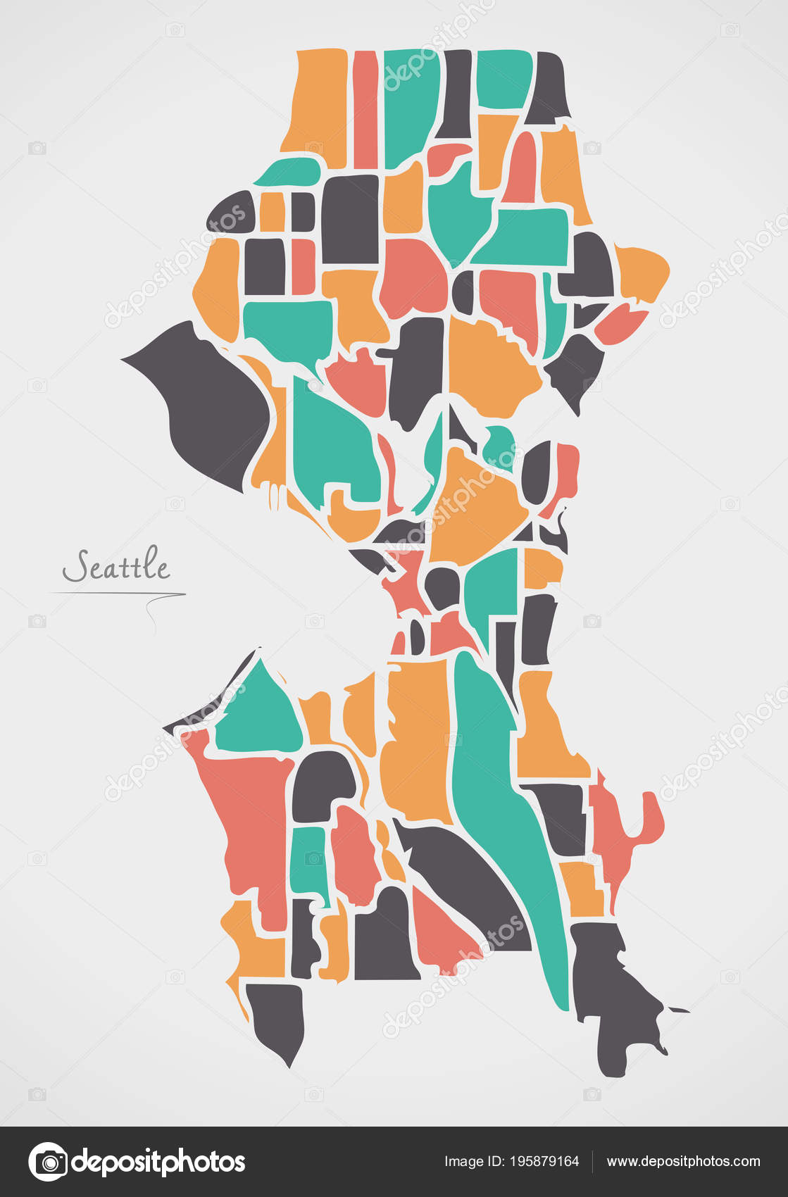 Seattle Washington Map Neighborhoods Modern Shapes Stock Vector
