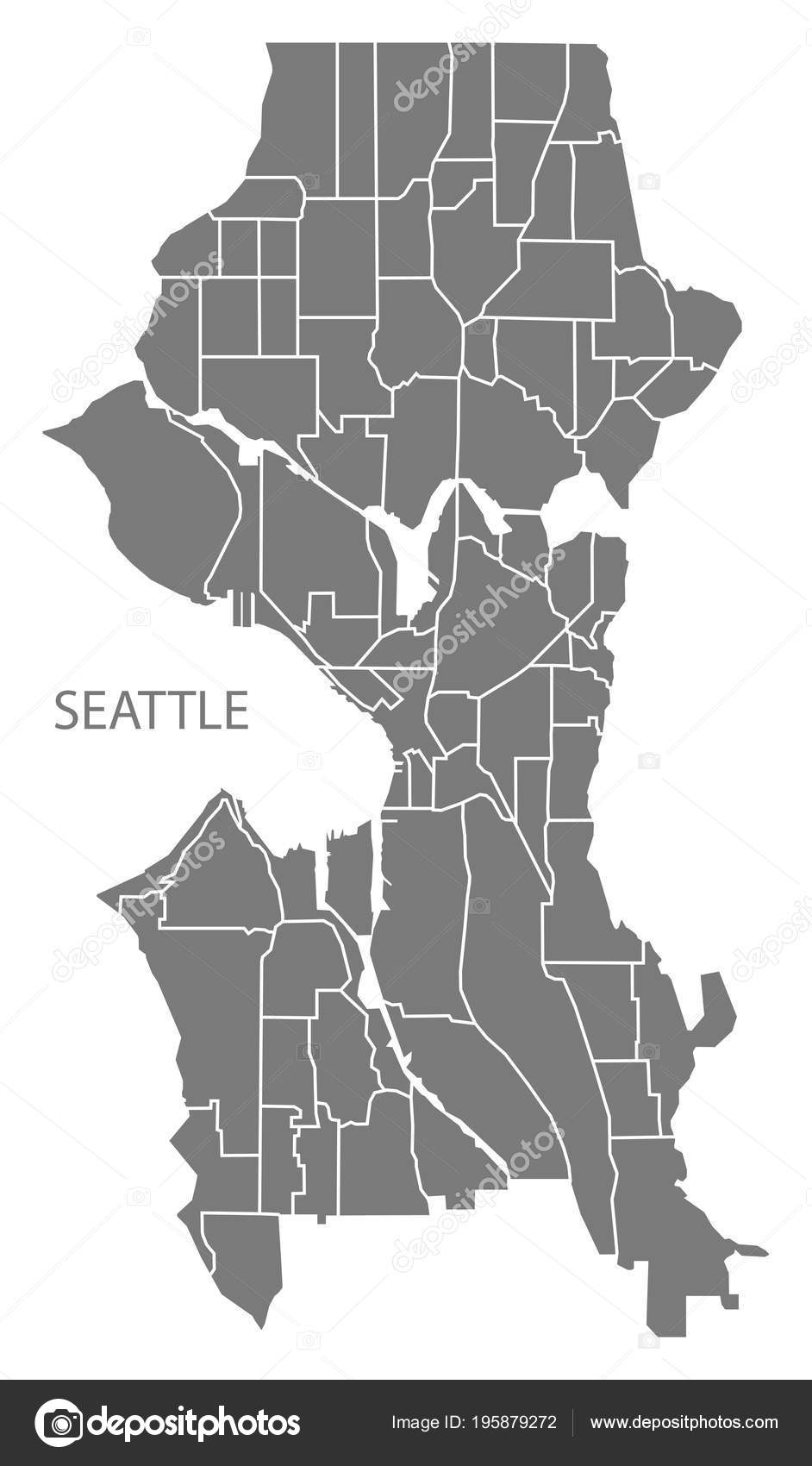 Seattle Washington City Map Neighborhoods Grey Illustration