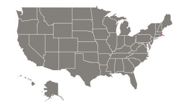 Rhode Island federal state blinking red highlighted in map of USA