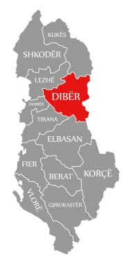 Diber red highlighted in map of Albania