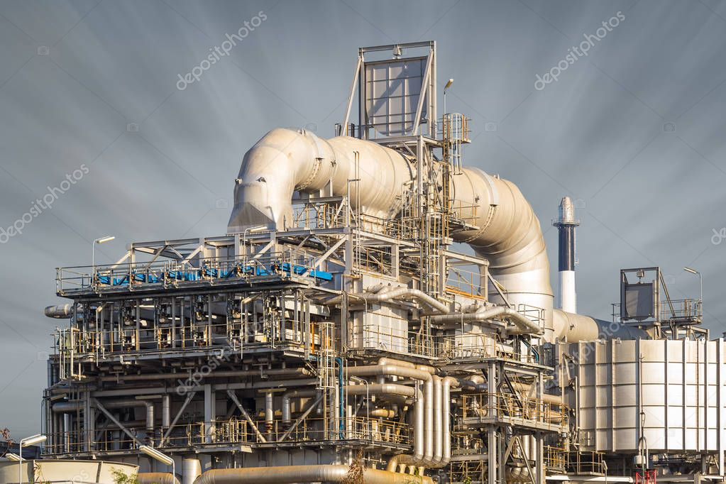 Machinery in oil refinery with sky background. stock vector