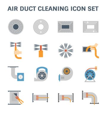 Air duct pipe cleaning vector icon set. clip art vector