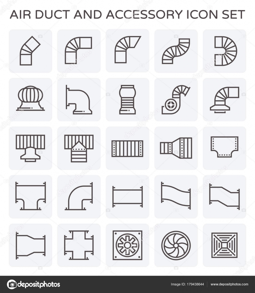 Air duct icon stock vector roncivil 179438644 air duct and sccessory icon set vector by roncivil buycottarizona Image collections