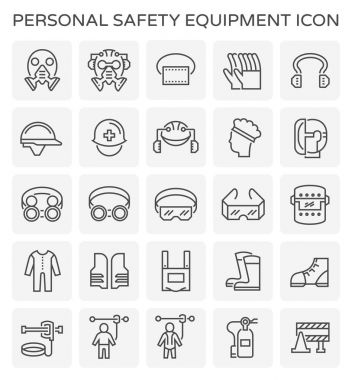 Safety equipment and tool icon set. stock vector