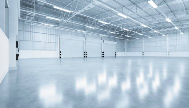 3d rendering of shutter door and concrete floor inside warehouse building for industrial background. stock vector