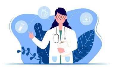 Doctor or medical service concept,Concept for medical app and websites. Flat vector illustration.
