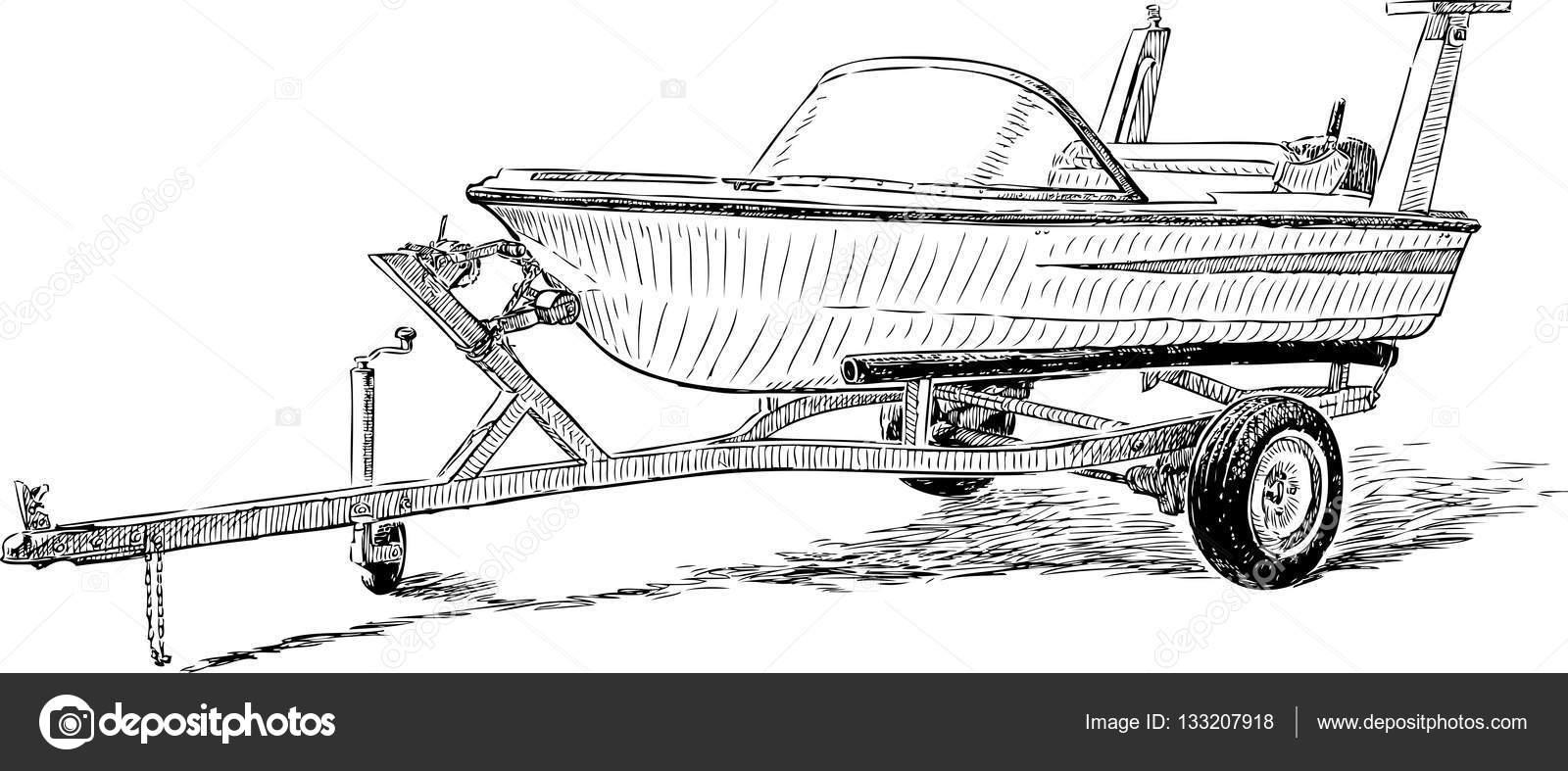 bateau de plaisance sur une remorque — Image vectorielle ...