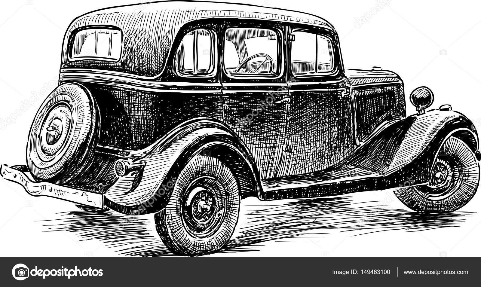Skizze eines Retro-Autos — Stockvektor © alekseimakarov #149463100