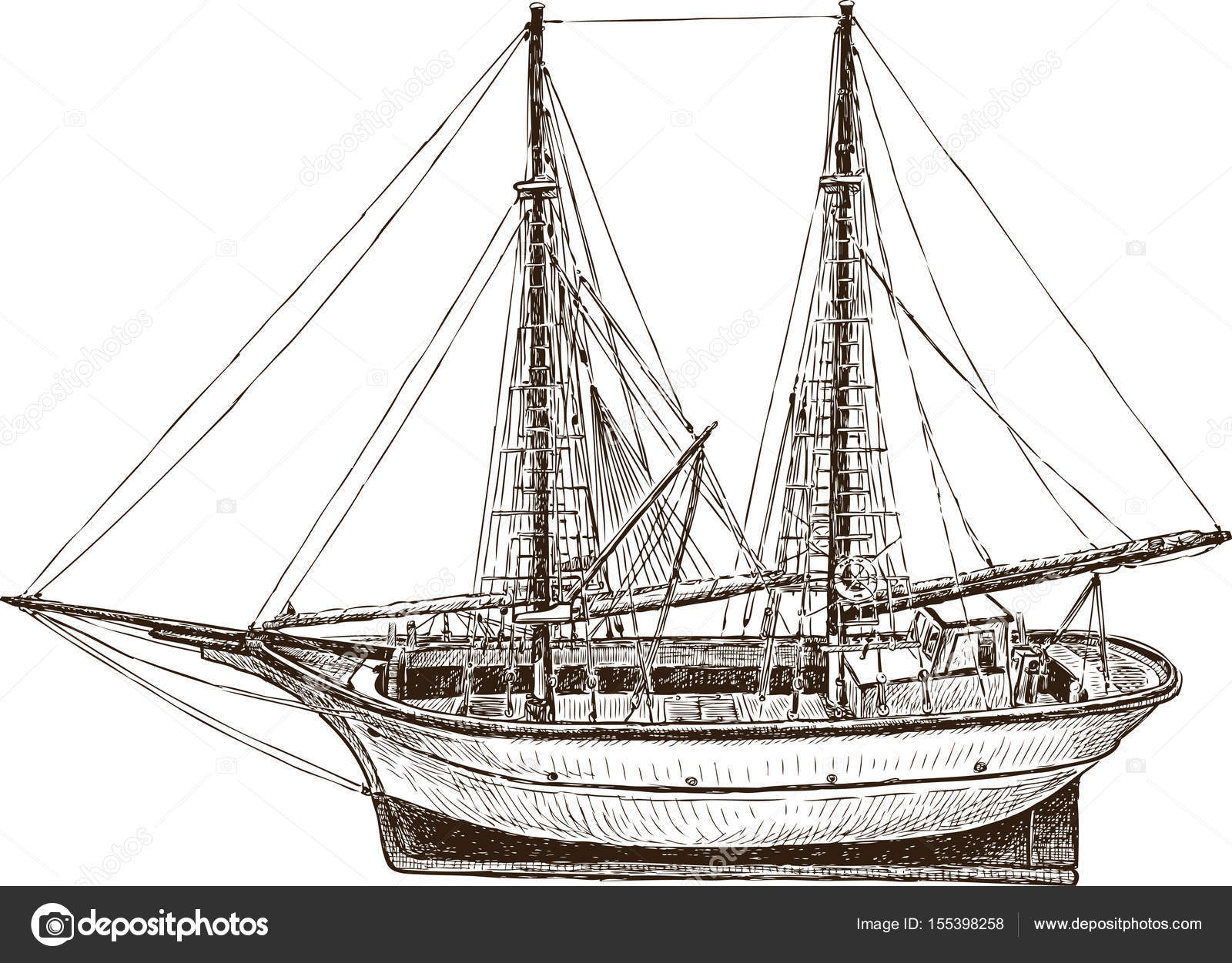 Drawing Of A Sailing Fishing Greek Boat Stock Vector 155398258