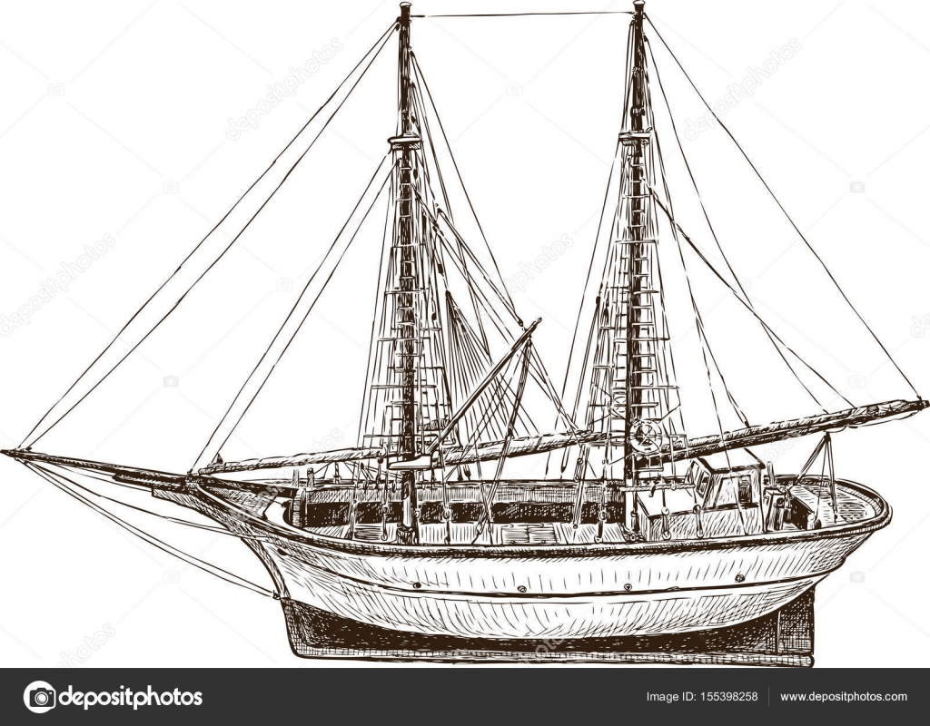 Drawing Of A Sailing Fishing Greek Boat Stock Vector 155398258