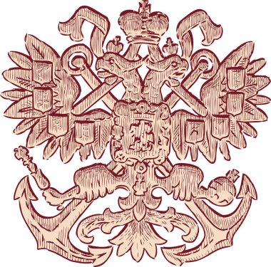 Sketch of a heraldic two-headed eagle