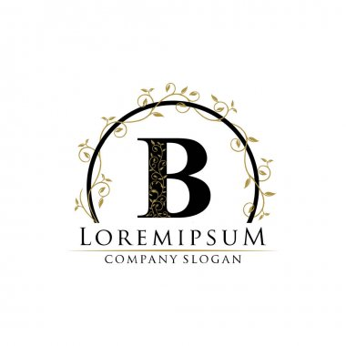B letter luxury beauty flourishes ornament monogram logo perfect for boutique, wedding invitation, restaurant,hotel.