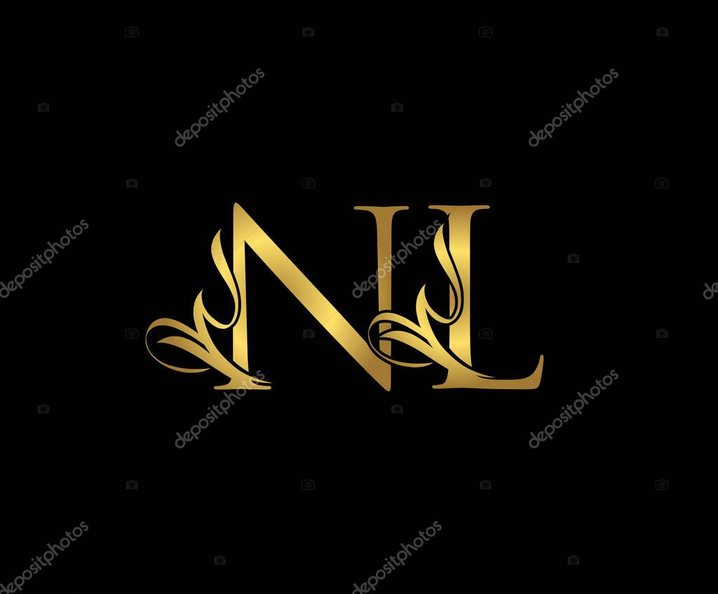 Royal Golden Letter Nl Logo Icon Initial N And L Design Vector Luxury Gold Color Print Monogram Initials Stamp Sign Symbol Premium Vector In Adobe Illustrator Ai Ai Format