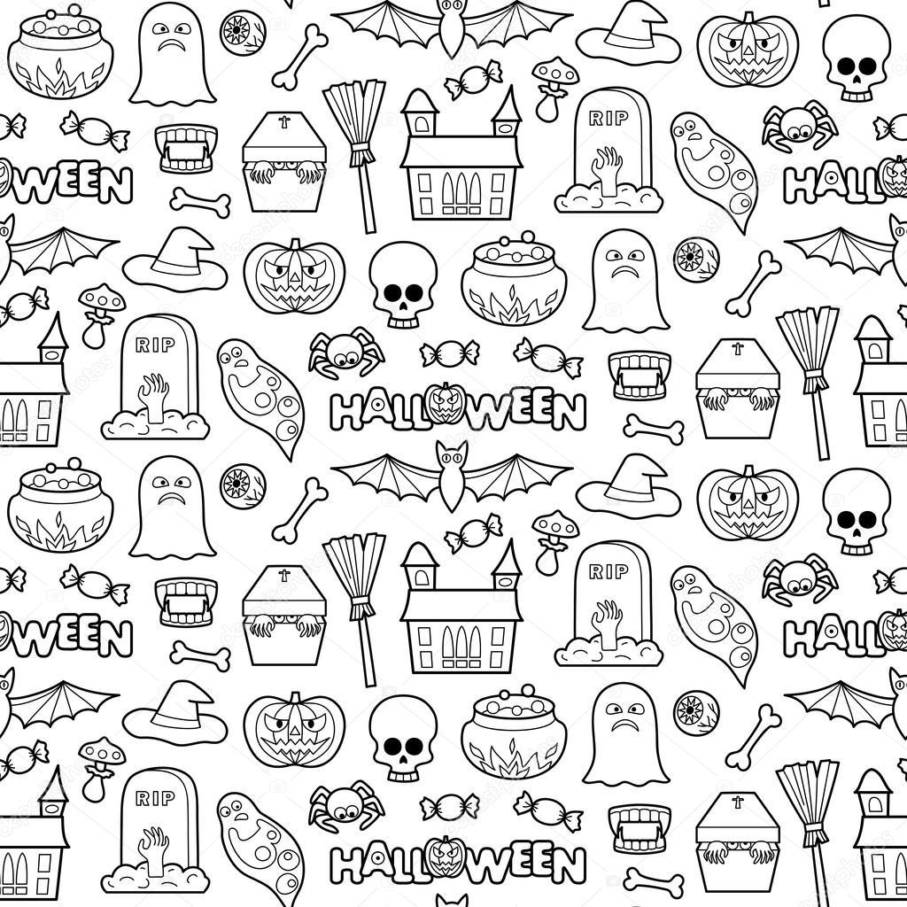 Parches de Halloween patrones sin fisuras — Vector de stock ...