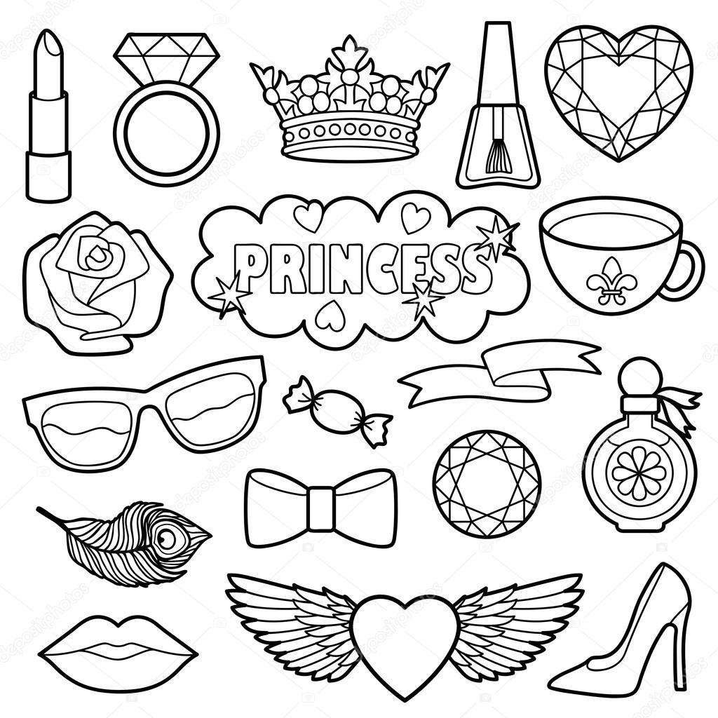 Parches de moda de princesa para colorear juego — Archivo Imágenes ...