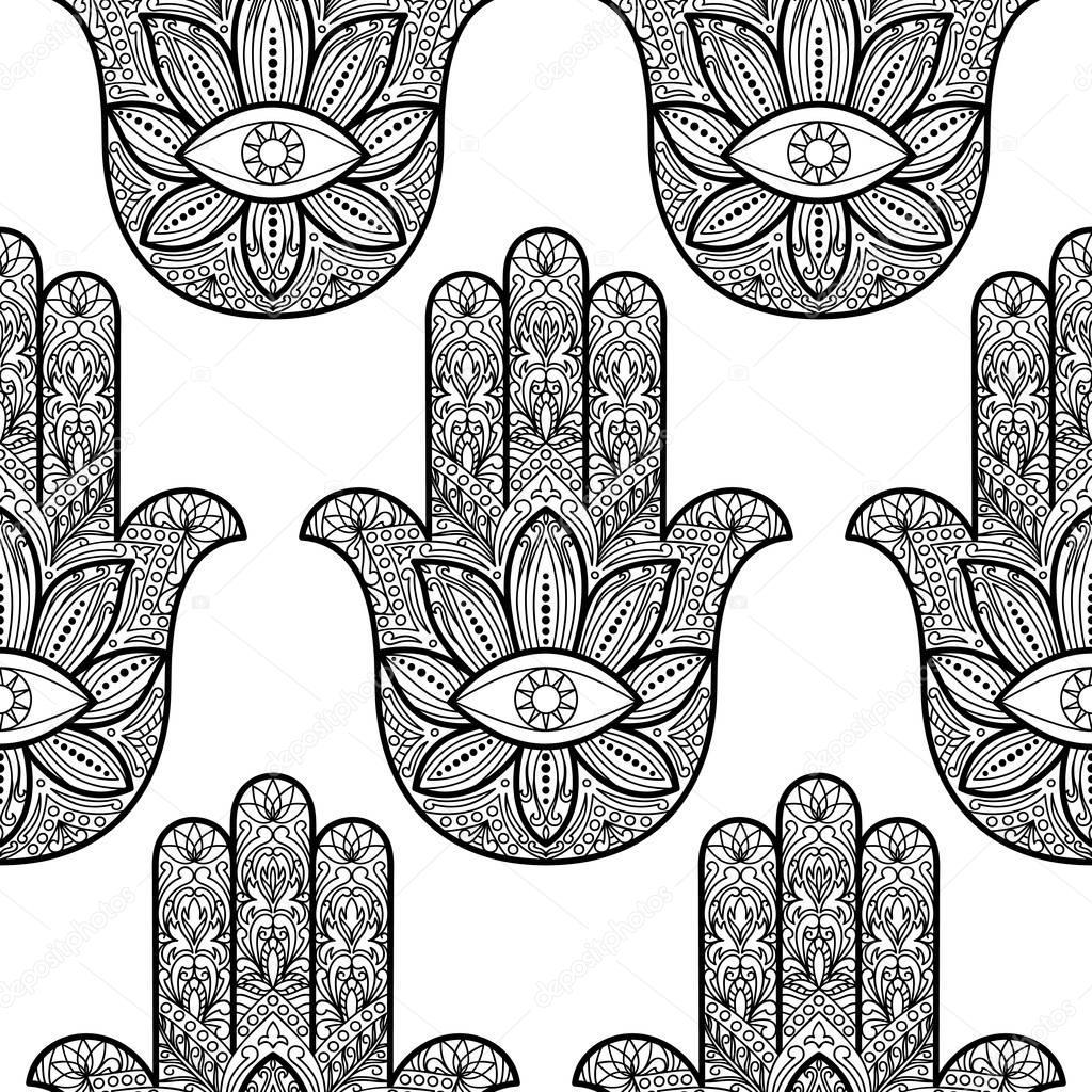 Main Hamsa De Fatima Seamless Pattern Image Vectorielle Kronalux