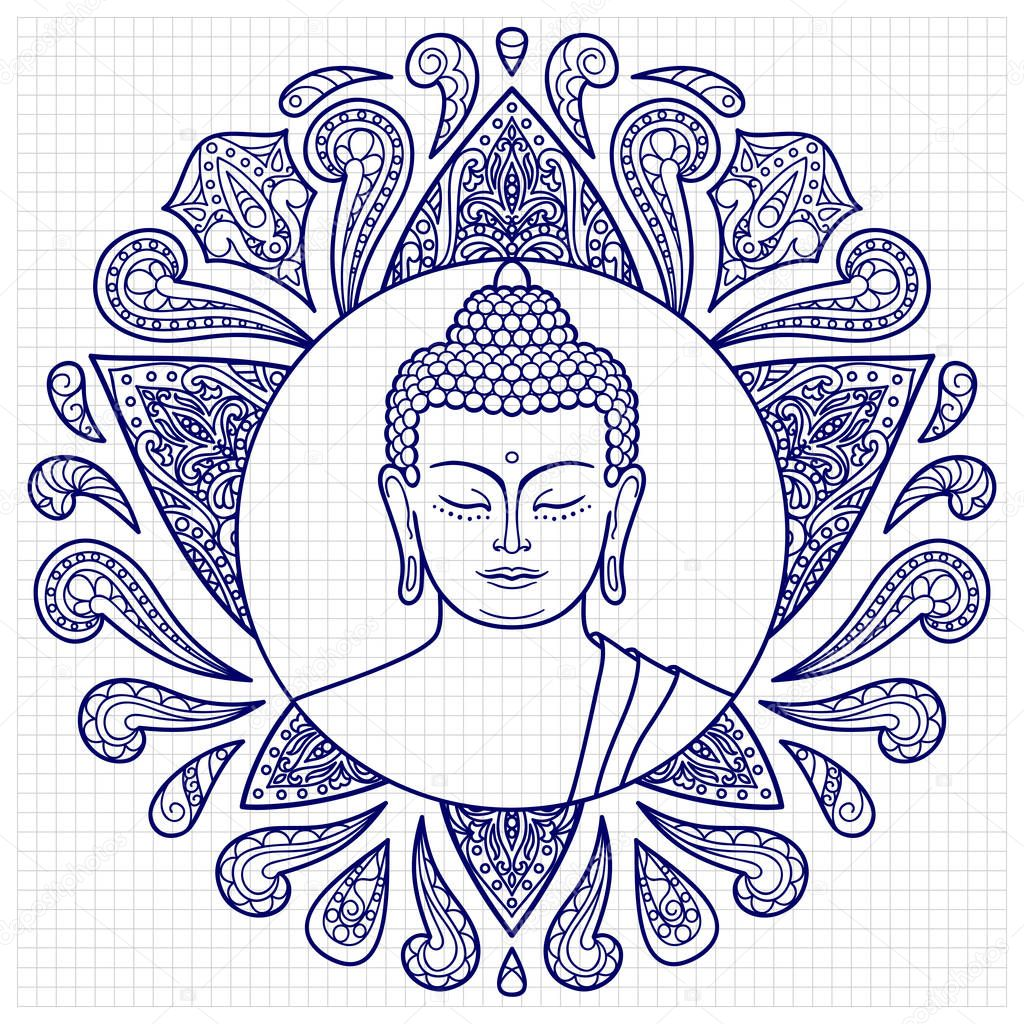 Buddha with lotus sketch stock illustration