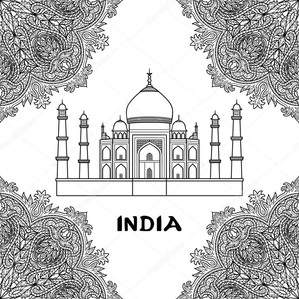 India taj mahal — Vector de stock © KronaLux #129926946