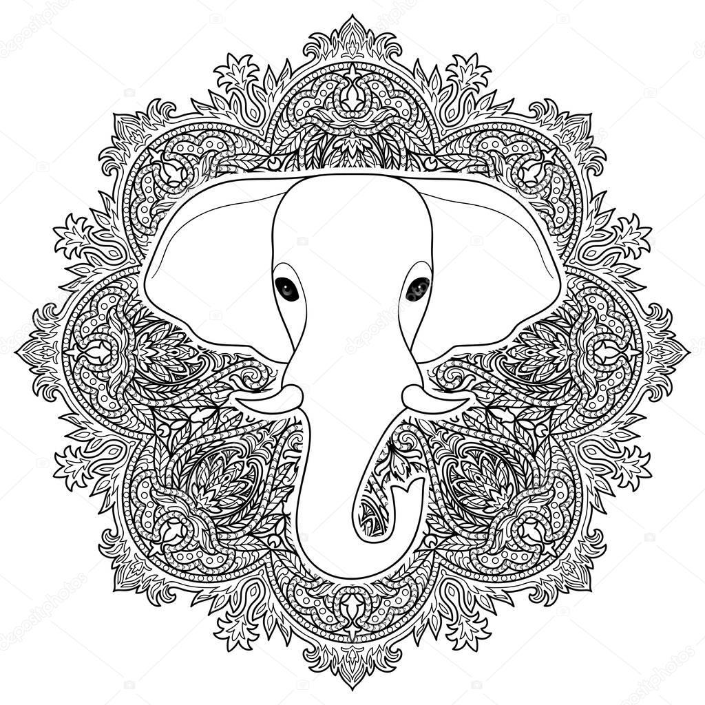 kleurplaat mandala olifant