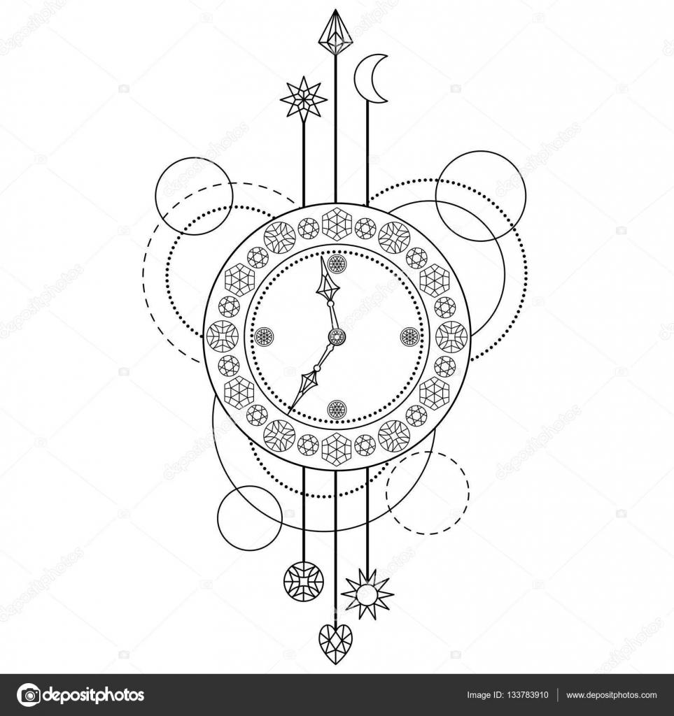 Patrón geométrico reloj — Vector de stock © KronaLux #133783910