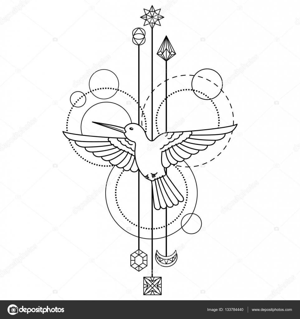 Line Art Karawaci : Símbolo geométrico colibri — archivo imágenes vectoriales