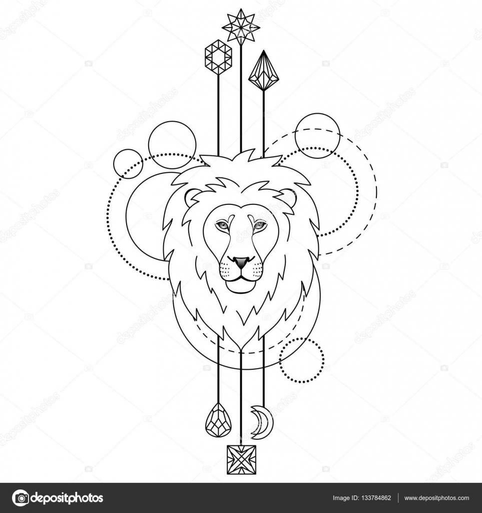 Geometrik Aslan Sembolü Stok Vektör Kronalux 133784862