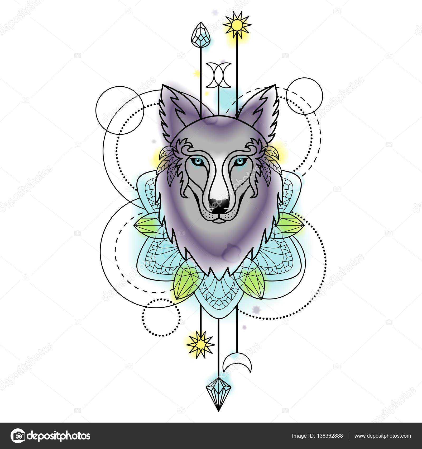 Aquarell Abstrakt Wolf Tattoo Stockvektor C Kronalux 138362888