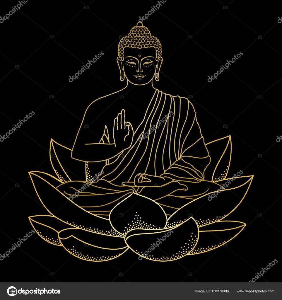 Or Bouddha Assis Sur Lotus Image Vectorielle Kronalux C 138370098